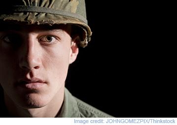 Image of army soldier in shadow