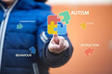 Image of autism puzzle with communication, behaviour, social & interaction pieces