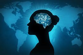 Illustration of woman with gears for a brain against a world map