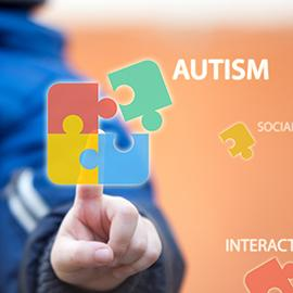 Child connecting autism awareness puzzle by pressing icons on digital virtual screen.