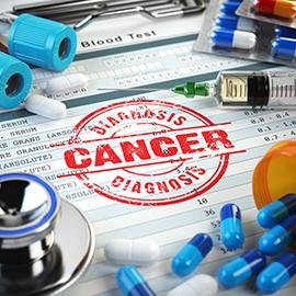 Cancer diagnosis. Stamp, stethoscope, syringe, blood test and pills on the clipboard with medical report. 3d illustration