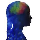 Colorful profile of young girl