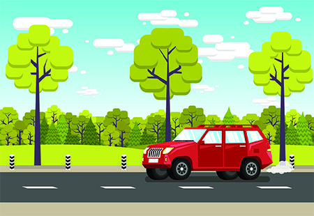 Illustration of a car on a road