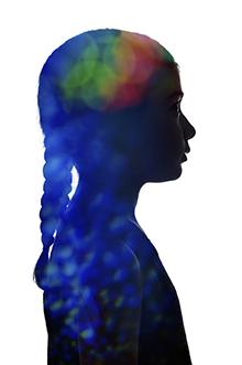 Colorful silhouette of a tween girl